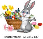 Cartoon Rabbit With Easter Egg...