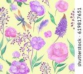 seamless ornament watercolor...   Shutterstock . vector #619817651