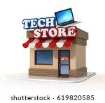 tech store shop front 3d... | Shutterstock . vector #619820585