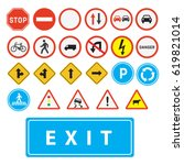 traffic signs vector.set of... | Shutterstock .eps vector #619821014