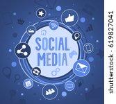 social media concept banner... | Shutterstock .eps vector #619827041