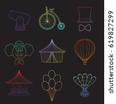 set of simple circus symbols... | Shutterstock .eps vector #619827299