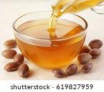 argan oil and nuts | Shutterstock . vector #619827959