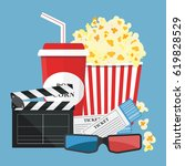 popcorn and drink. film strip... | Shutterstock .eps vector #619828529