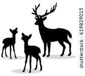 Deer Family Silhouette Black O...