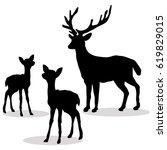 Deer Family Silhouette Black O...