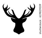deer black silhouette head... | Shutterstock .eps vector #619829039