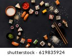 Sushi and rolls background ...