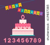 happy birthday card set for a... | Shutterstock .eps vector #619837385