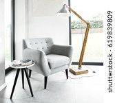 armchair in a modern apartment | Shutterstock . vector #619839809
