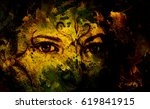 mystic woman with ornament on... | Shutterstock . vector #619841915