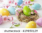 colorful easter eggs and spring ... | Shutterstock . vector #619850129