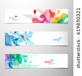 set of abstract colorful... | Shutterstock .eps vector #619850321