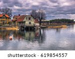 panorama of the town of vaxholm ... | Shutterstock . vector #619854557