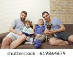 male gay couple with children... | Shutterstock . vector #619864679