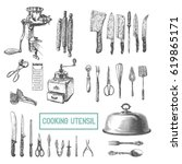 kitchen utensils set. vector... | Shutterstock .eps vector #619865171