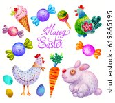 cut watercolor happy easter set ... | Shutterstock . vector #619865195