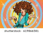 glamorous diva surprised. pop... | Shutterstock .eps vector #619866581