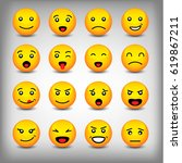 emoticons set isolated on white ... | Shutterstock .eps vector #619867211