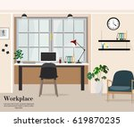 workplace in office. workplace... | Shutterstock .eps vector #619870235