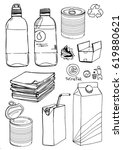 sketch of recyclable materials. ... | Shutterstock .eps vector #619880621