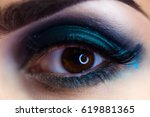 beautiful woman makeup eye macro | Shutterstock . vector #619881365