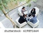 top view of office with... | Shutterstock . vector #619891664