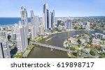 aerial view of surfers paradise ... | Shutterstock . vector #619898717