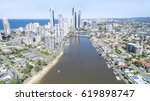 aerial view of surfers paradise ... | Shutterstock . vector #619898747