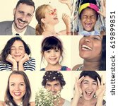 collage of people smiling... | Shutterstock . vector #619899851