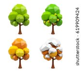set of geometric 3d trees... | Shutterstock . vector #619909424