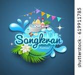 amazing songkran festival of... | Shutterstock .eps vector #619911785