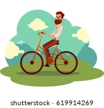 bearded man in vest and bow tie ... | Shutterstock .eps vector #619914269