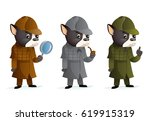 bulldog detective magnifying... | Shutterstock .eps vector #619915319