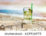 summer drink on beach and... | Shutterstock . vector #619916975