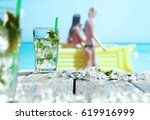 summer drink on beach and... | Shutterstock . vector #619916999