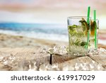 summer drink on beach and... | Shutterstock . vector #619917029