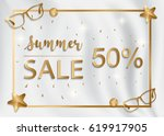 summer sale on white silk... | Shutterstock .eps vector #619917905