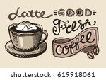 hand drawn coffee set. vector... | Shutterstock .eps vector #619918061