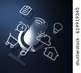 3d rendering pictogram voice... | Shutterstock . vector #619919345