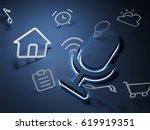 3d rendering pictogram voice... | Shutterstock . vector #619919351