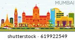 mumbai skyline with color... | Shutterstock .eps vector #619922549