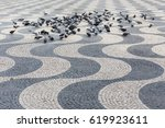 Pigeons On Wave Pattern Grey...