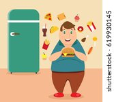illustration of the fat man... | Shutterstock .eps vector #619930145
