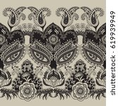 paisley floral seamless pattern.... | Shutterstock .eps vector #619939949