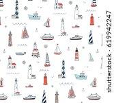 vector pattern of cartoon... | Shutterstock .eps vector #619942247