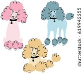 cartoon doodle poodles isolated ... | Shutterstock .eps vector #619942355