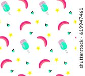 seamless pattern with bananas... | Shutterstock .eps vector #619947461