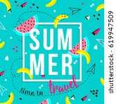 vector of bright summer cards.... | Shutterstock .eps vector #619947509