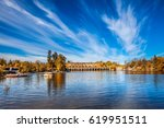 cirrus clouds are reflected in ... | Shutterstock . vector #619951511